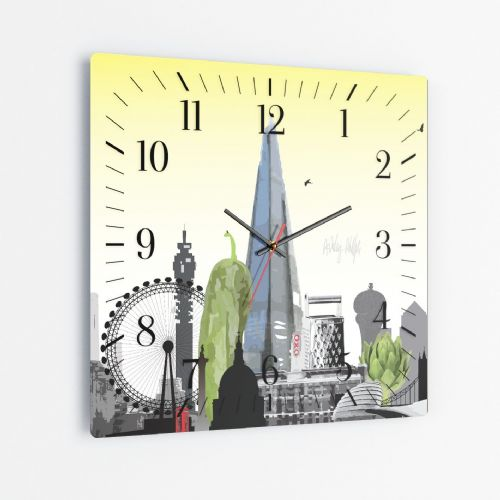 London Skyline With A Twist Yellow - Square Glass Clock